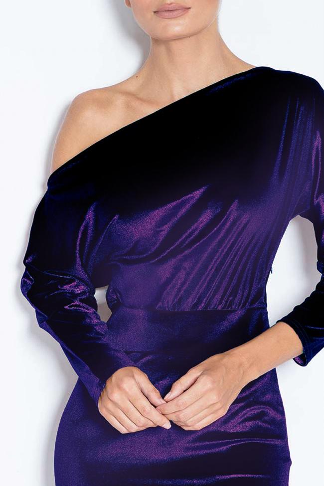 Adela one-shoulder stretch-velvet dress Love Love  image 3