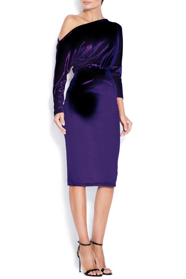 Adela one-shoulder stretch-velvet dress Love Love  image 0