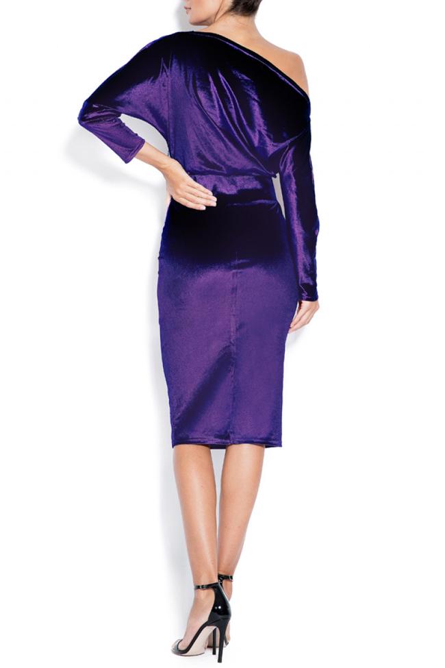 Adela one-shoulder stretch-velvet dress Love Love  image 2