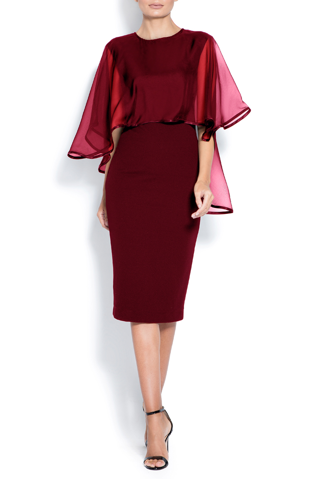 Ana cape-effect silk crepe midi dress Love Love  image 0