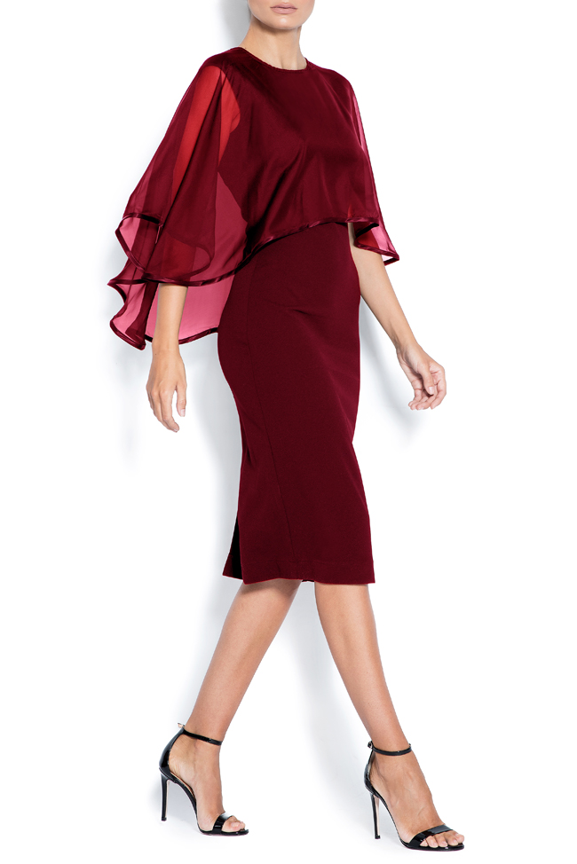 Ana cape-effect silk crepe midi dress Love Love  image 1