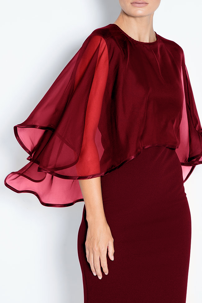 Ana cape-effect silk crepe midi dress Love Love  image 3