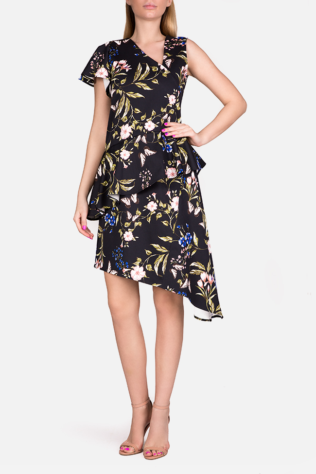 Floral print cotton-blend peplum midi dress Bluzat image 0