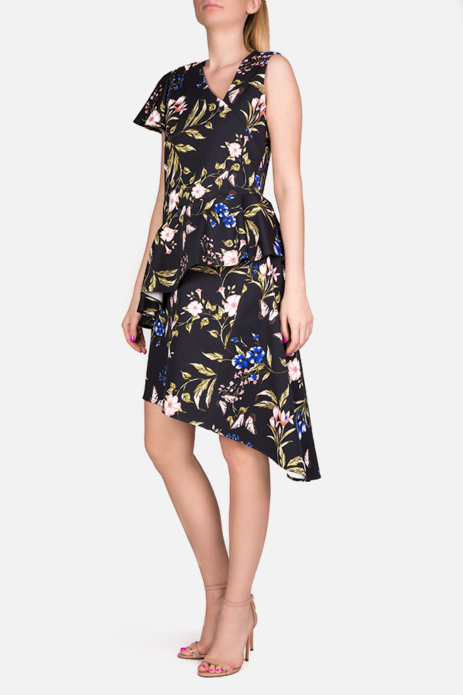 Floral print cotton-blend peplum midi dress Bluzat image 1