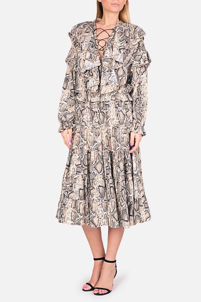 Ruffled snake-print midi dress Bluzat image 0