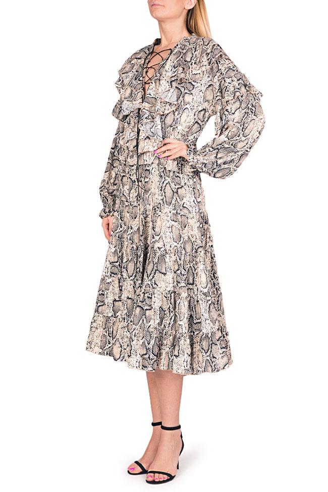 Ruffled snake-print midi dress Bluzat image 1