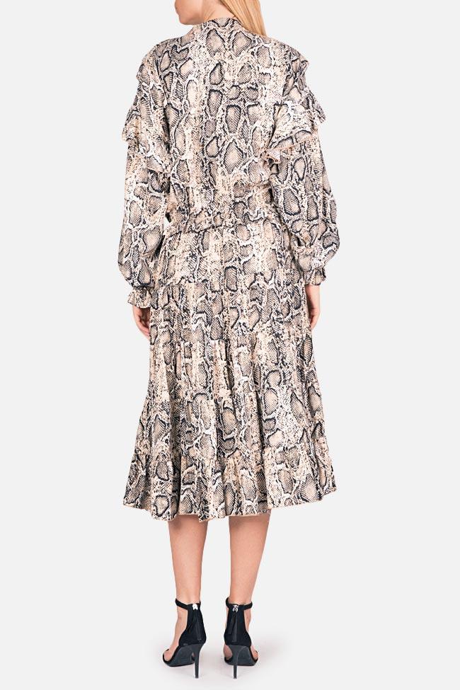 Ruffled snake-print midi dress Bluzat image 2