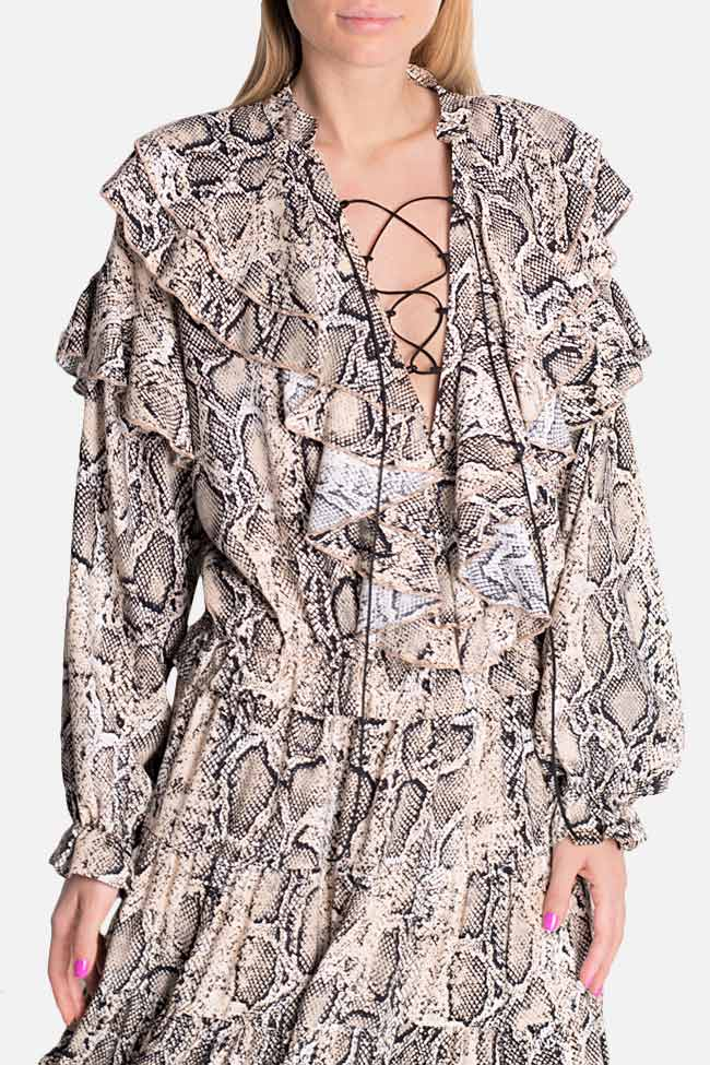 Ruffled snake-print midi dress Bluzat image 3