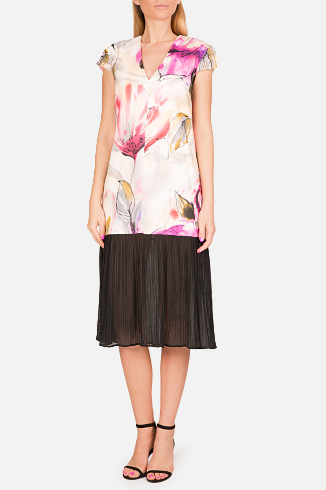 Pleated printed cotton-blend midi dress Bluzat image 0