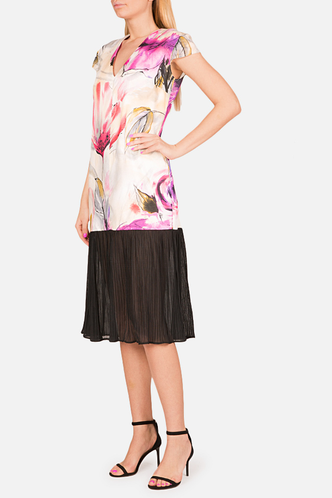 Pleated printed cotton-blend midi dress Bluzat image 1