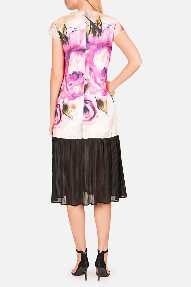 Rochie din amestec de bumbac si voal plisat Bluzat imagine 2
