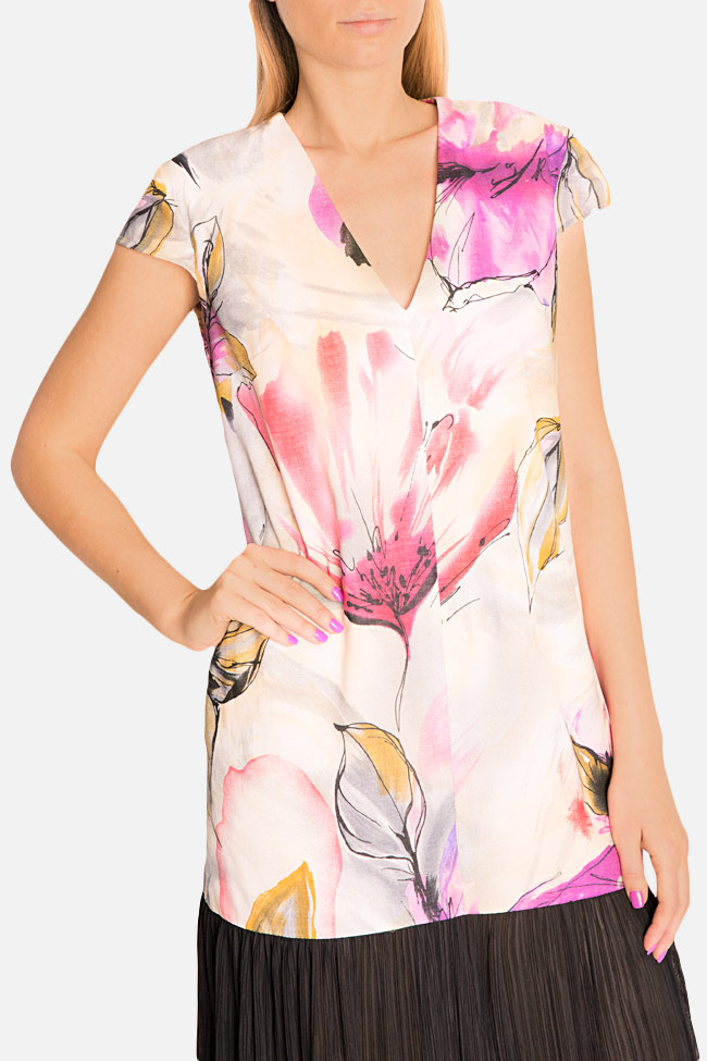 Pleated printed cotton-blend midi dress Bluzat image 3