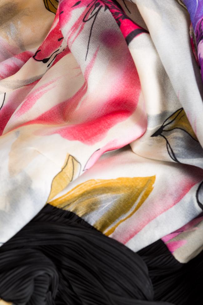 Pleated printed cotton-blend midi dress Bluzat image 4