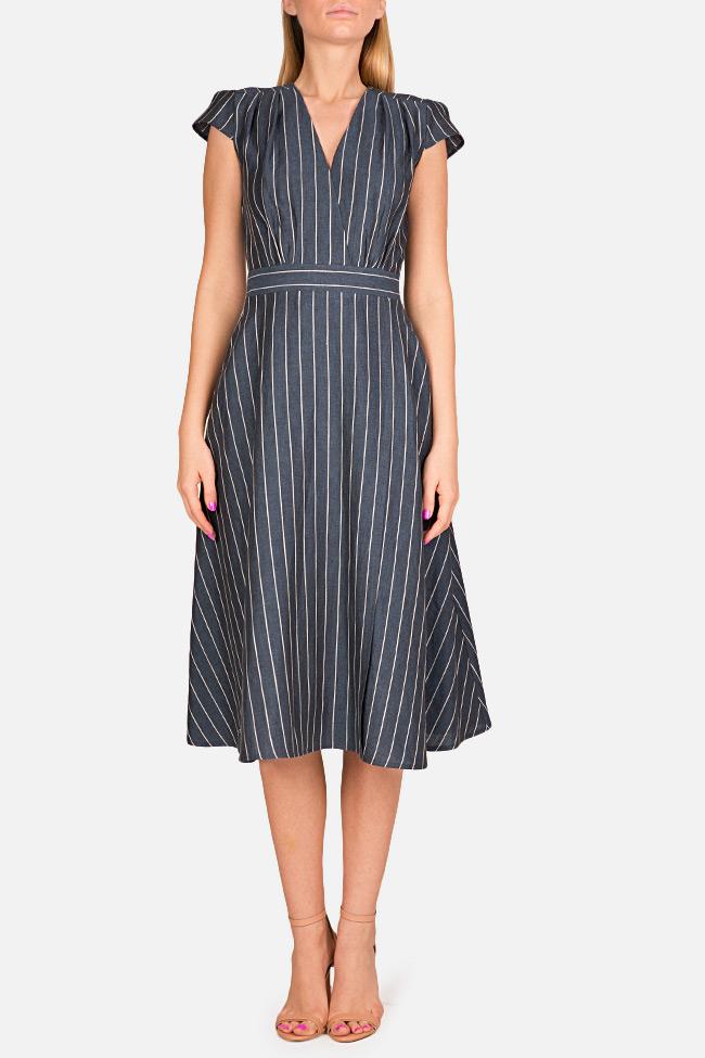 Striped linen midi dress Bluzat image 0