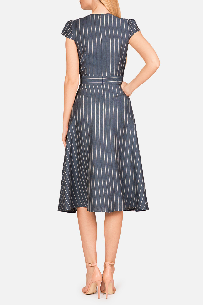 Striped linen midi dress Bluzat image 2