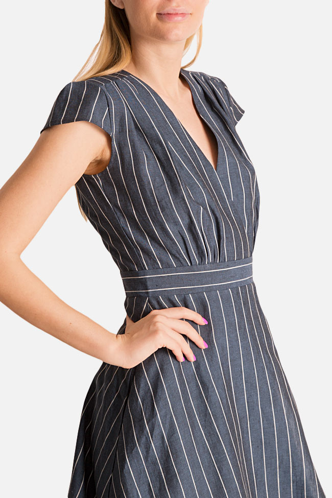 Striped linen midi dress Bluzat image 3