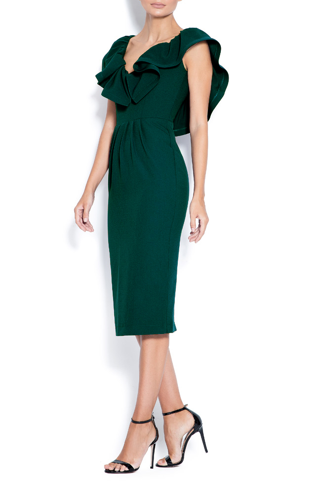 Melisa ruffled crepe open-back midi dress Love Love  image 2
