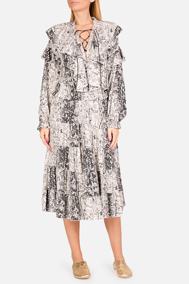 Ruffled snake-print midi dress Bluzat image 0