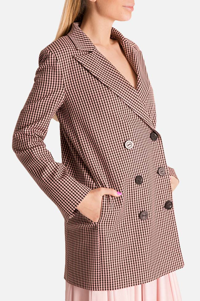Checked double-breasted wool-blend blazer Bluzat image 3