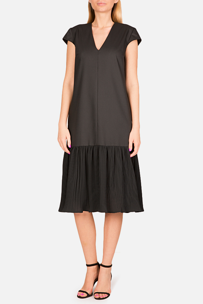 Pleated cotton-blend midi dress Bluzat image 0