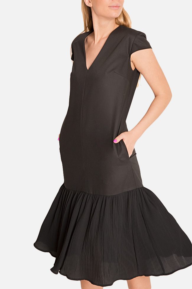 Pleated cotton-blend midi dress Bluzat image 3