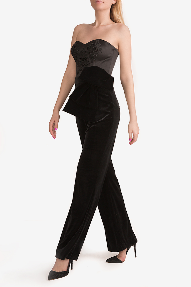 Embroidered velvet taffeta jumpsuit Ramona Belciu image 1