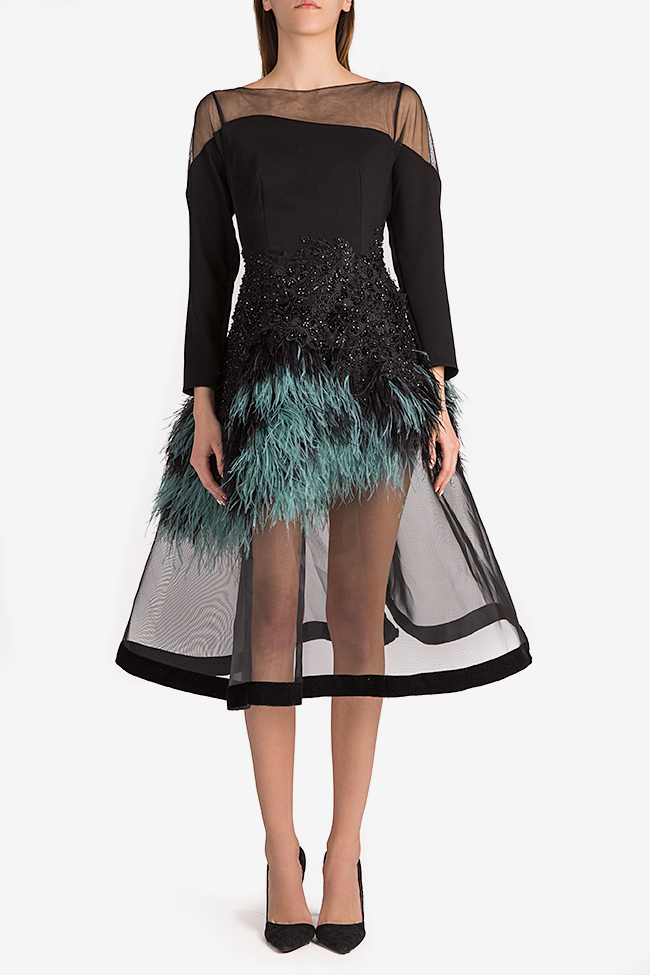 Feather-trimmed crepe and tulle gown Alda Ciceu image 0