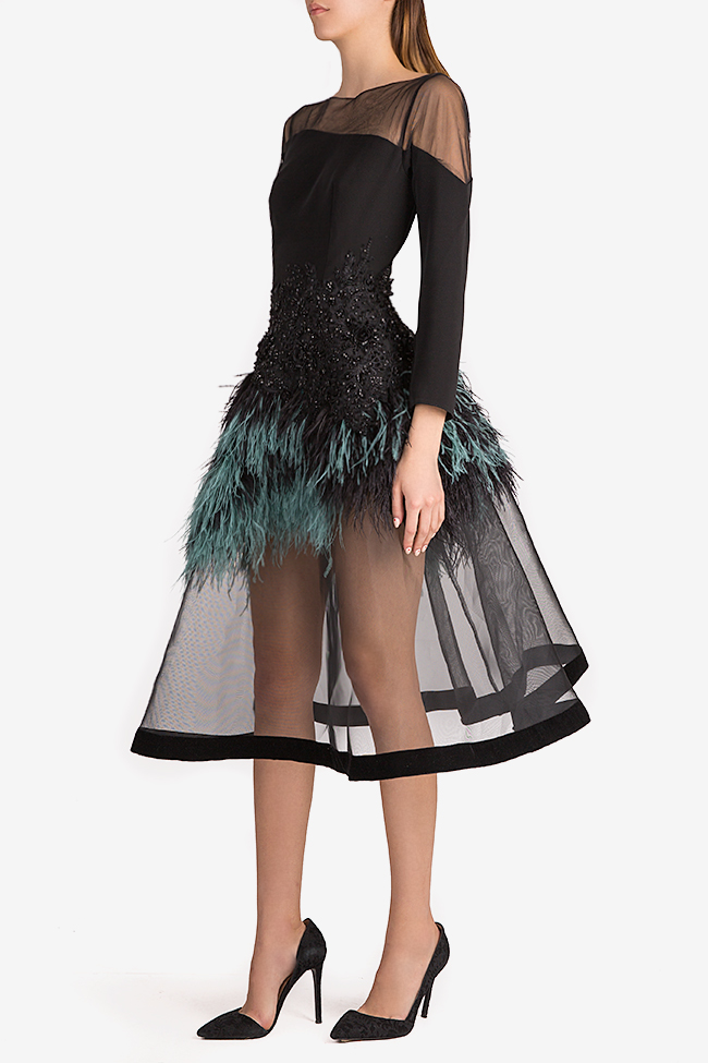 Feather-trimmed crepe and tulle gown Alda Ciceu image 1
