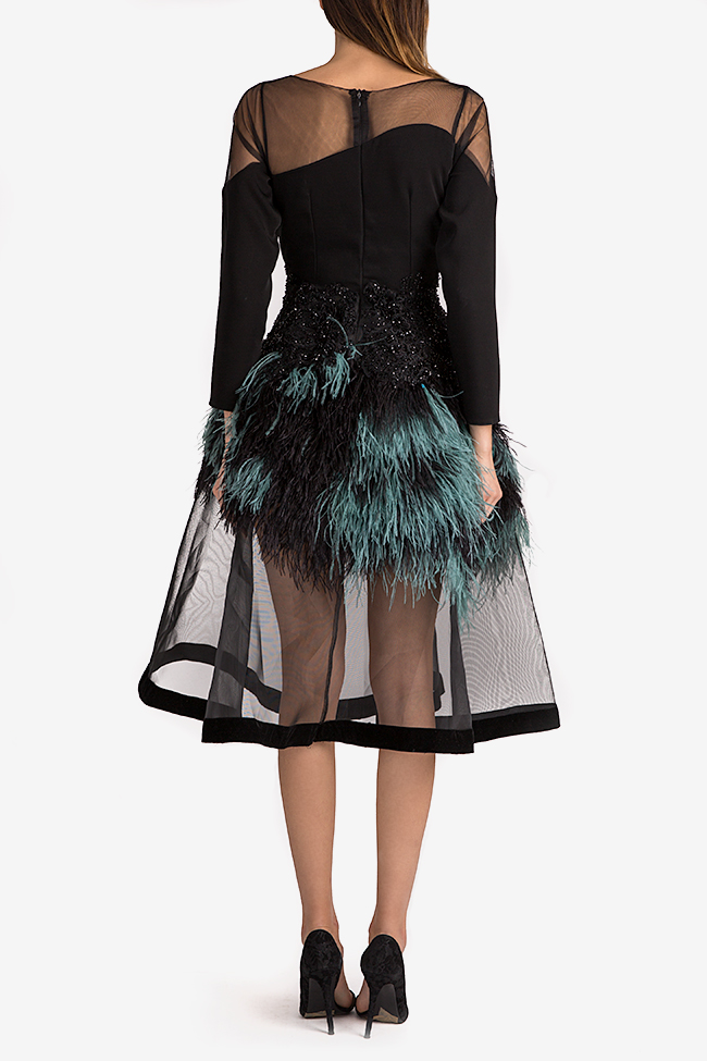 Feather-trimmed crepe and tulle gown Alda Ciceu image 2