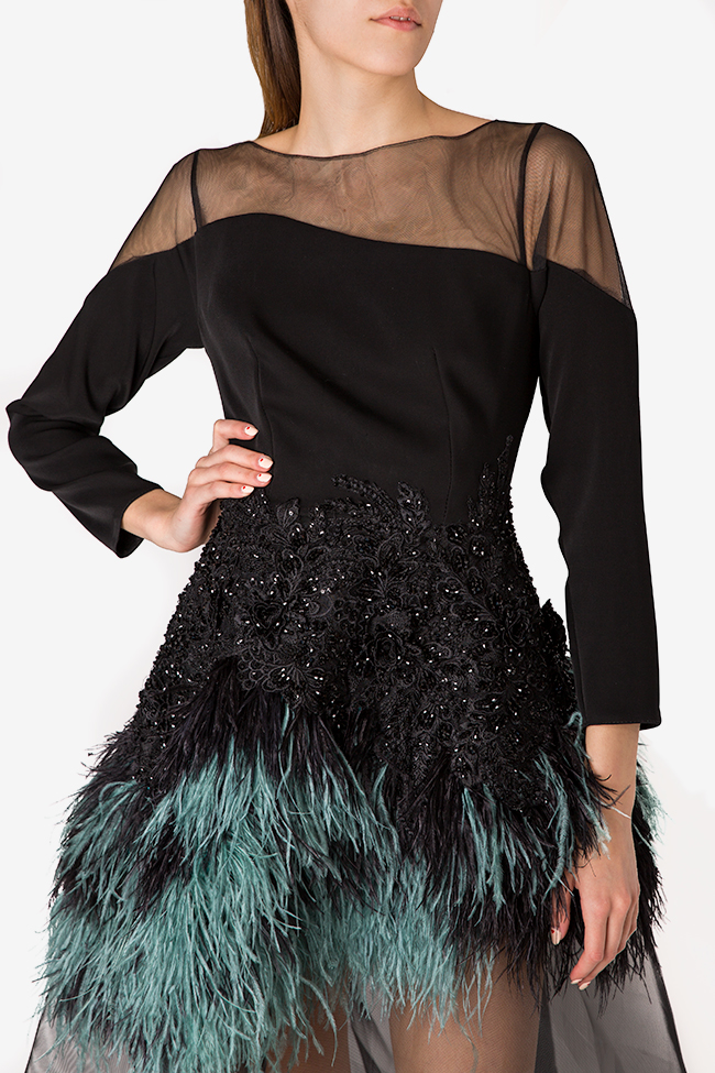 Feather-trimmed crepe and tulle gown Alda Ciceu image 3