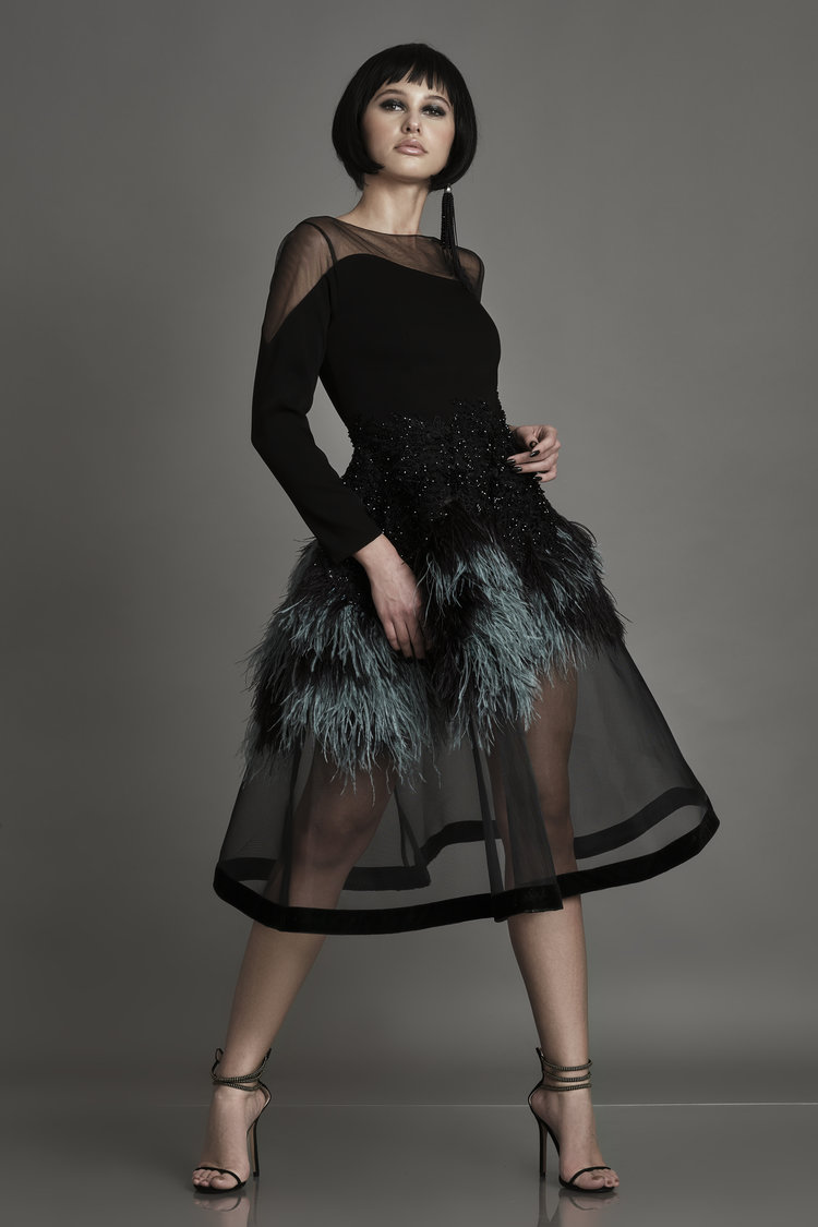 Feather-trimmed crepe and tulle gown Alda Ciceu image 4