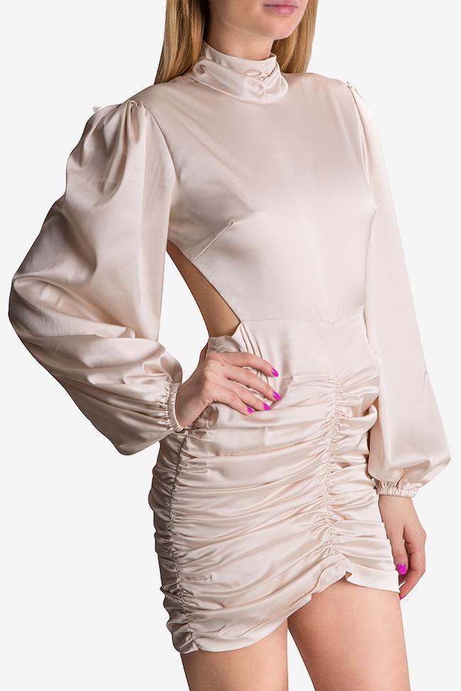 Rochie  din matase satinata cu spatele gol si guler tip tunica YURI Arllabel Golden Brand imagine 3