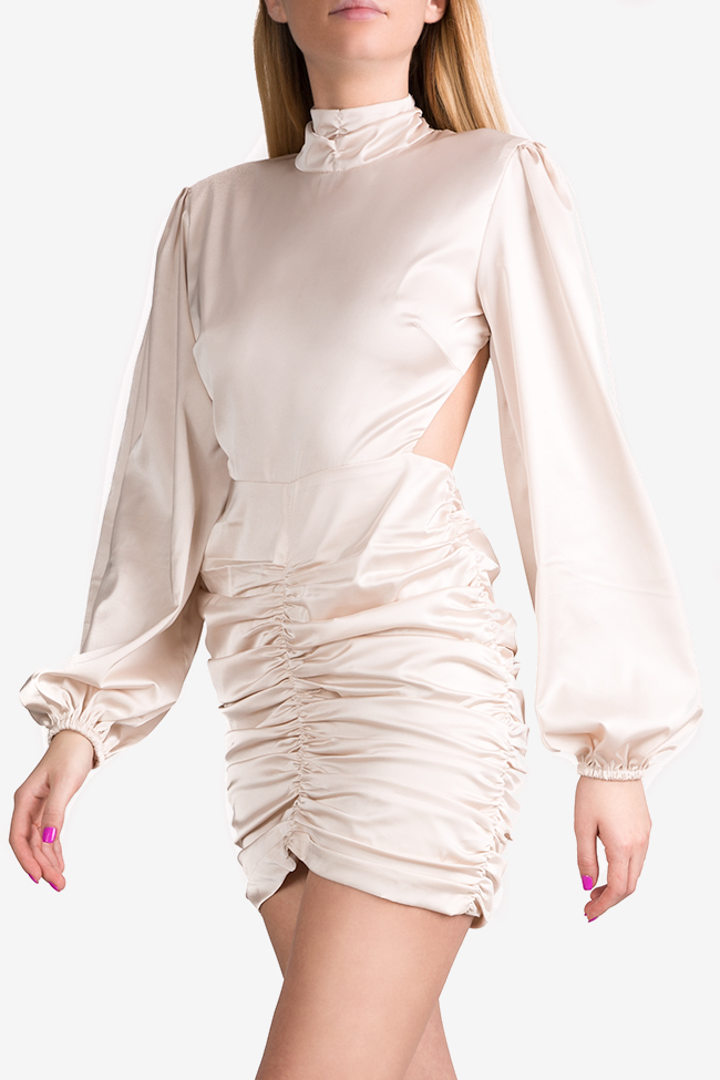 Rochie  din matase satinata cu spatele gol si guler tip tunica YURI Arllabel Golden Brand imagine 0