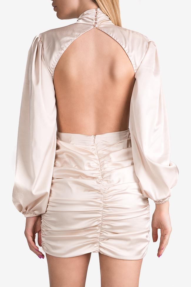 Rochie  din matase satinata cu spatele gol si guler tip tunica YURI Arllabel Golden Brand imagine 2
