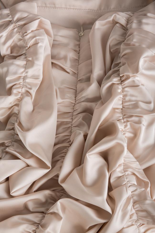 Rochie  din matase satinata cu spatele gol si guler tip tunica YURI Arllabel Golden Brand imagine 4