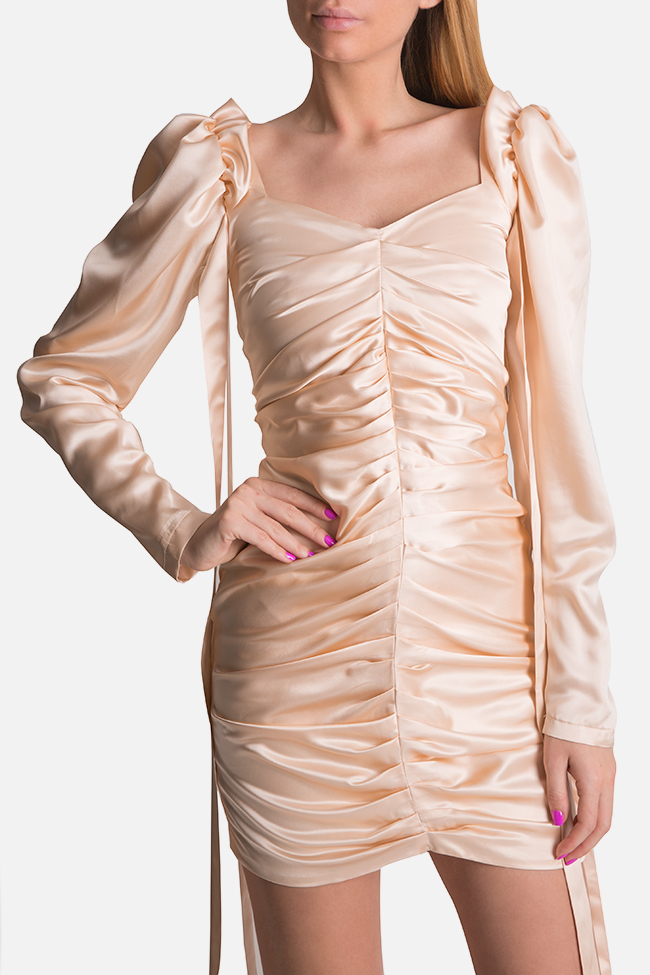 Amélie tie-detailed silk satin mini dress Arllabel Golden Brand image 0