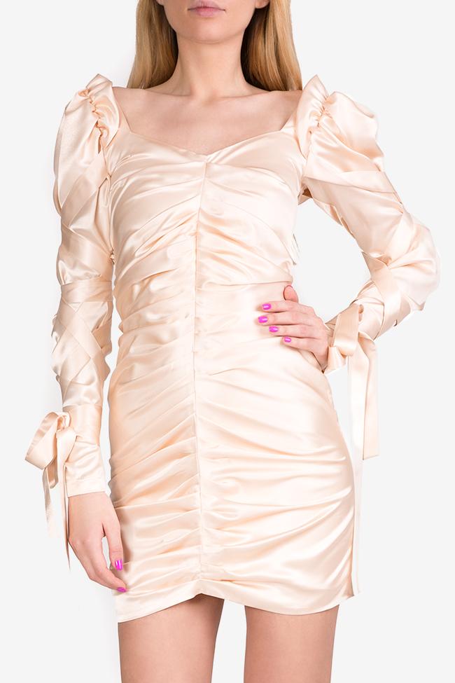Amélie tie-detailed silk satin mini dress Arllabel Golden Brand image 2