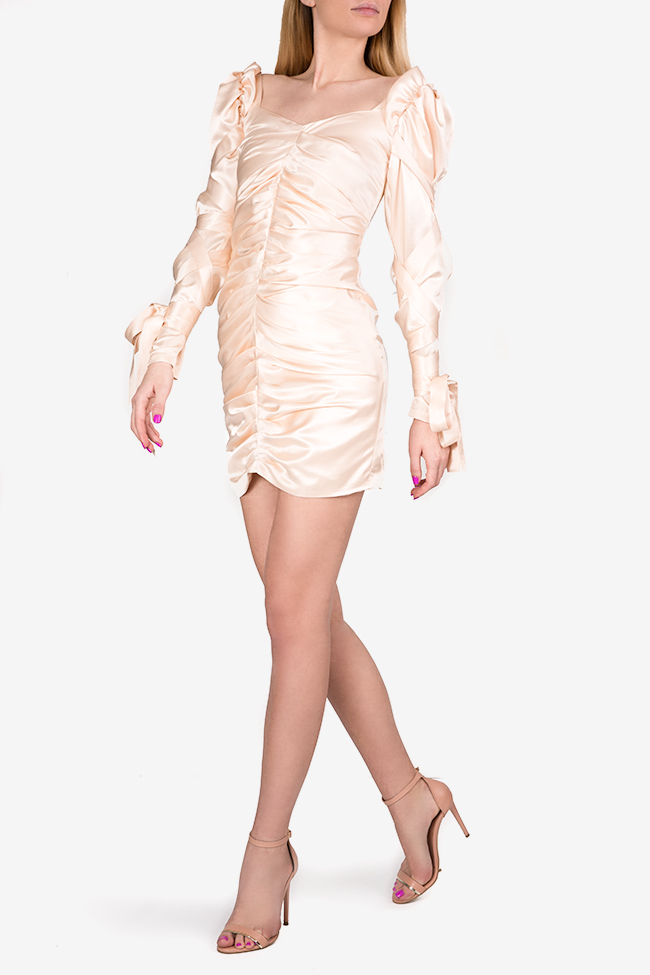 Amélie tie-detailed silk satin mini dress Arllabel Golden Brand image 1