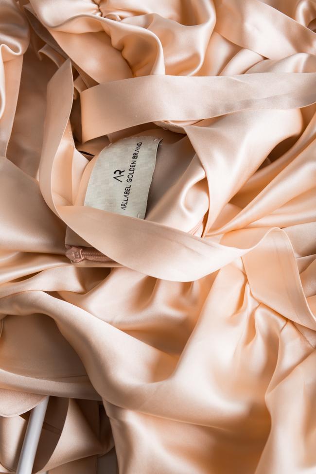 Amélie tie-detailed silk satin mini dress Arllabel Golden Brand image 4