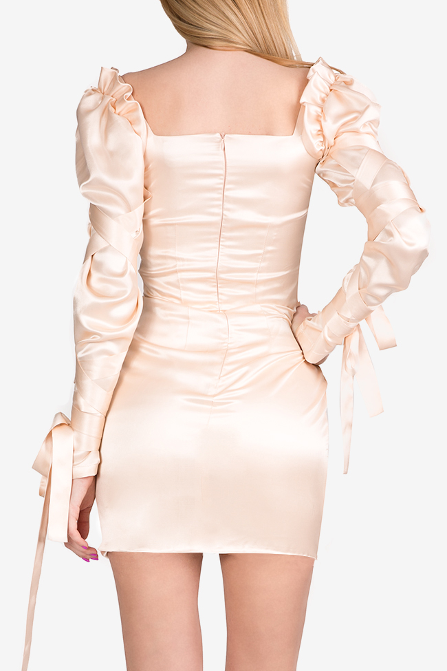 Amélie tie-detailed silk satin mini dress Arllabel Golden Brand image 3