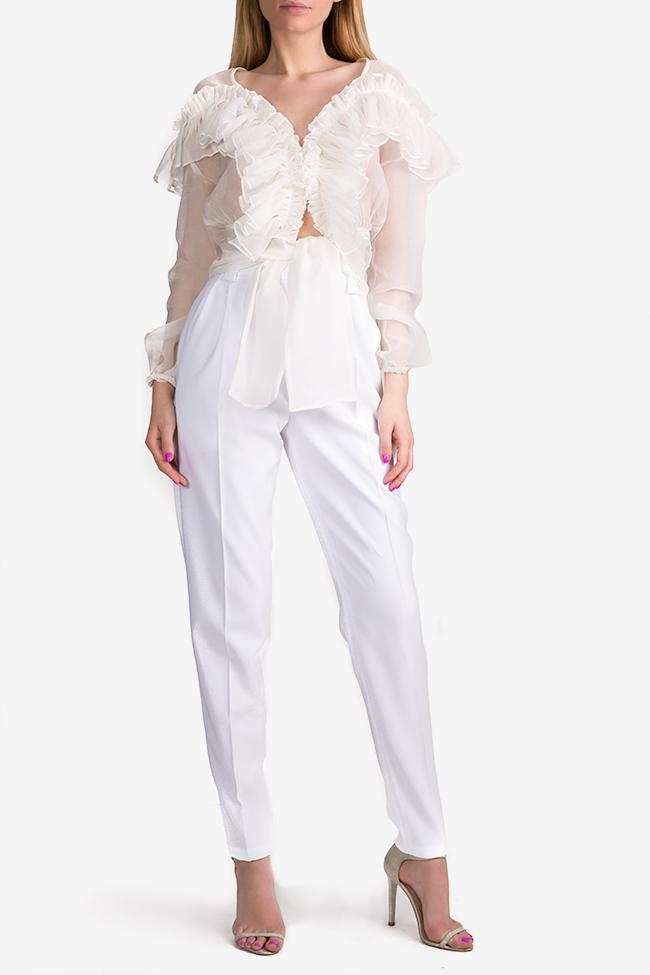 Pantaloni cu talie inalta din crep Jager Arllabel Golden Brand imagine 1