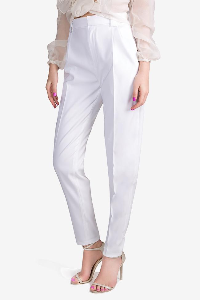 Pantaloni cu talie inalta din crep Jager Arllabel Golden Brand imagine 0