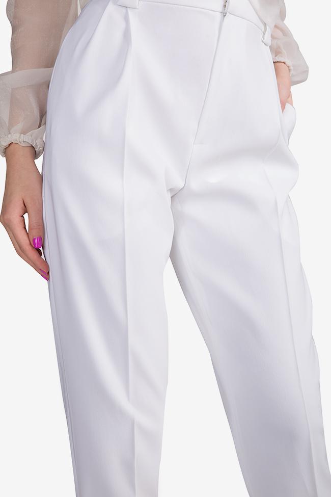 Pantaloni cu talie inalta din crep Jager Arllabel Golden Brand imagine 3