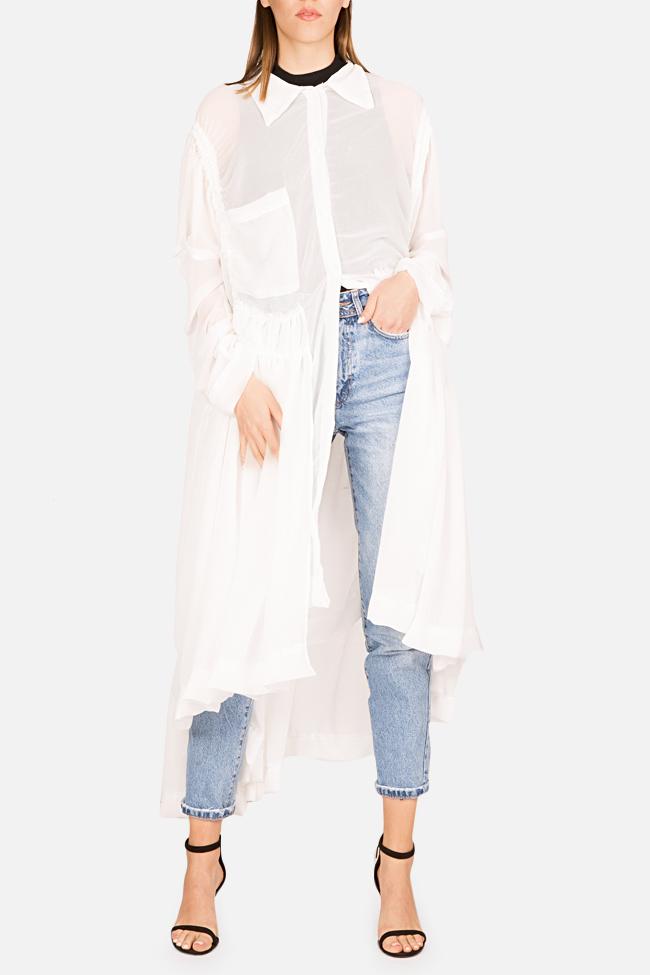 Robe asymétrique type chemise en jersey avec volants Marta Studio Cabal image 0