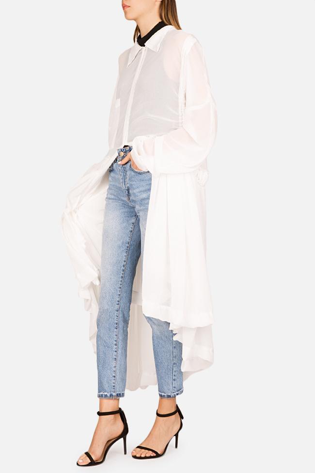 Robe asymétrique type chemise en jersey avec volants Marta Studio Cabal image 1