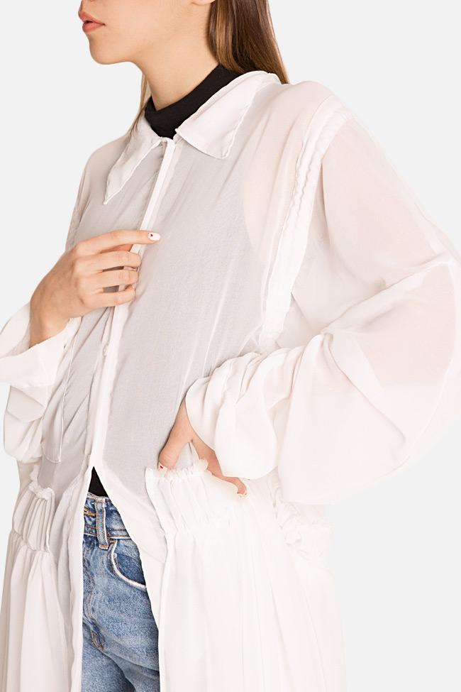 Robe asymétrique type chemise en jersey avec volants Marta Studio Cabal image 3