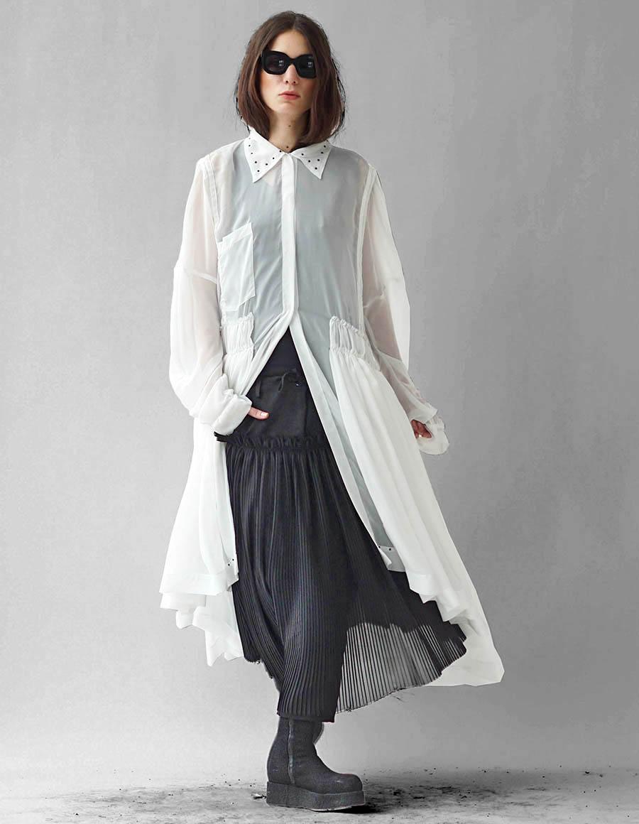 Robe asymétrique type chemise en jersey avec volants Marta Studio Cabal image 4