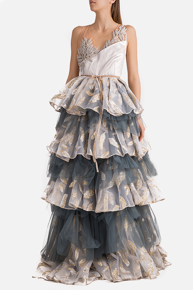 Embroidered ruffled tulle organza gown Alda Ciceu image 0