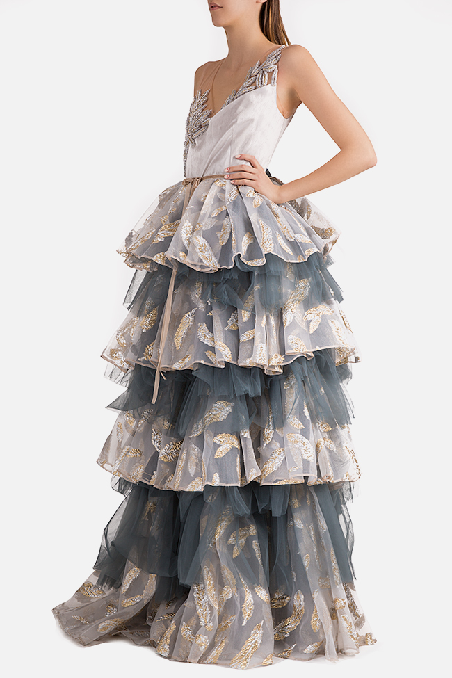 Embroidered ruffled tulle organza gown Alda Ciceu image 1