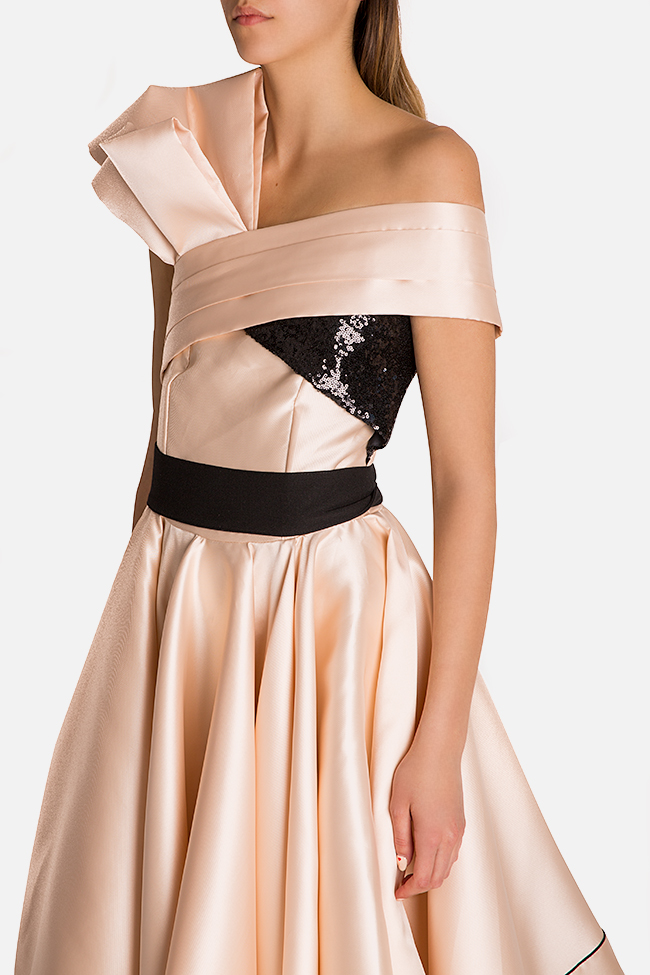 Draped one-shoulder sequin-paneled silk taffeta gown Alda Ciceu image 3